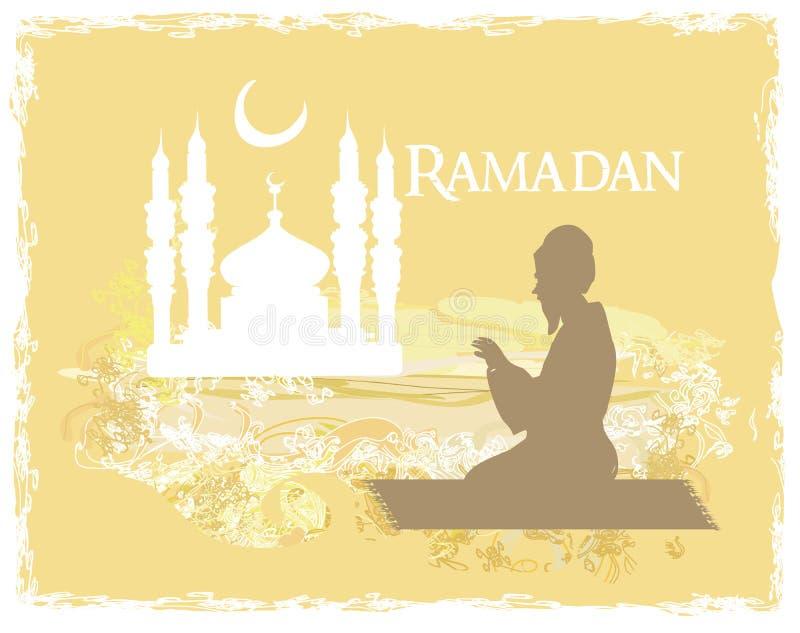 Fondo religioso abstracto - el hombre musulmán ruega ilustración del vector