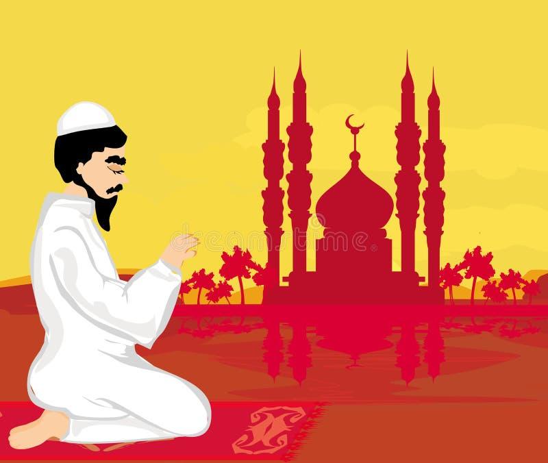 Fondo religioso abstracto - hombre musulmán que ruega libre illustration
