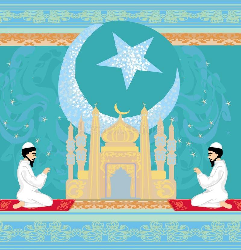 Fondo religioso abstracto - hombres musulmanes que ruegan ilustración del vector