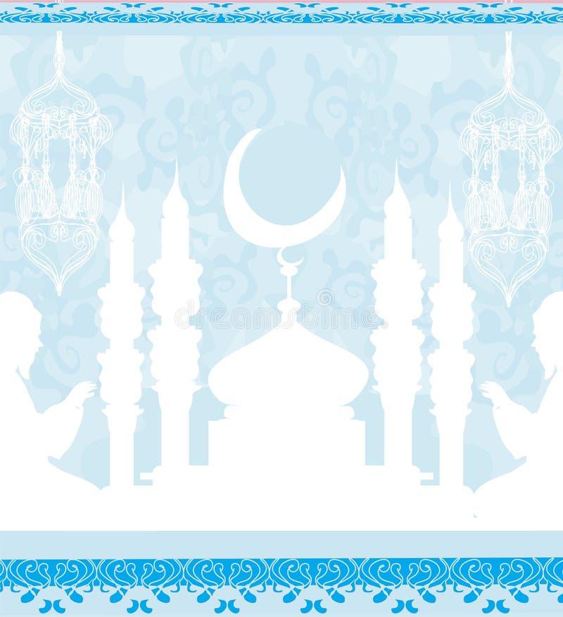 Fondo religioso abstracto - hombres musulmanes que ruegan libre illustration