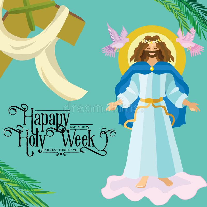 Fondo religioso de la resurrección de Pascua - Lord Jesus Christ subido en la nube en el ejemplo del vector del cielo Semana sant libre illustration