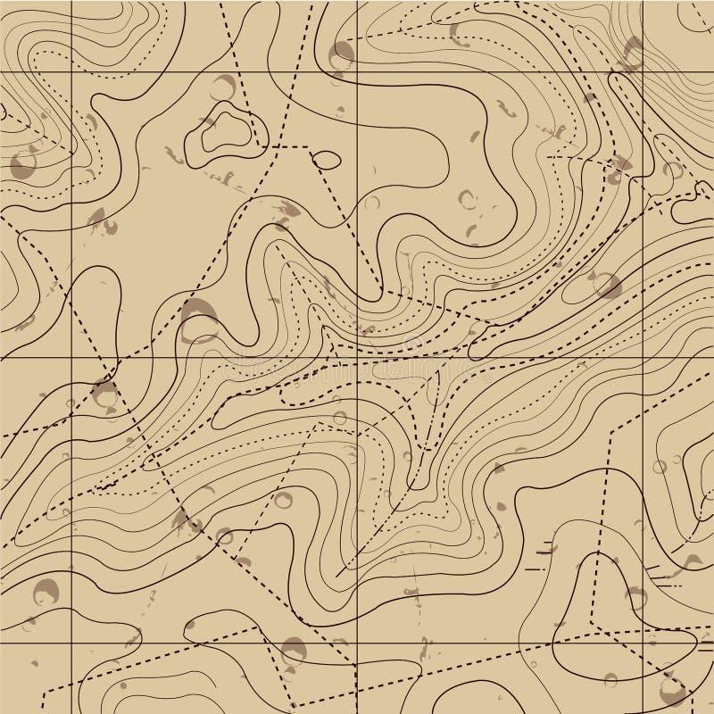 Fondo retro abstracto del mapa de la topografía stock de ilustración
