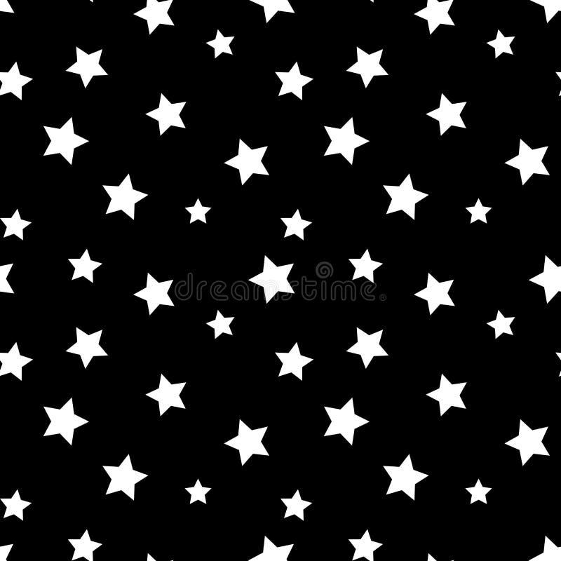 Fondo retro blanco y negro del modelo inconsútil de la estrella ilustración del vector