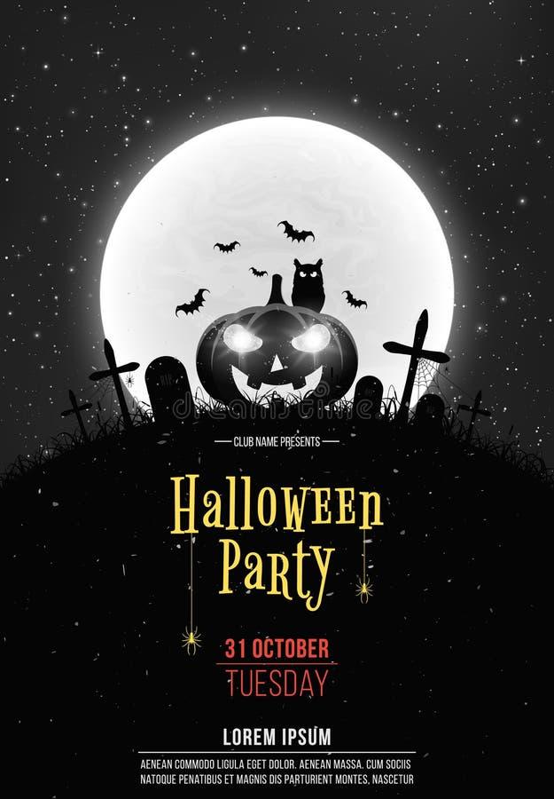 Fondo retro blanco y negro para el partido de Halloween Calabaza de la historieta en el cementerio Luna Llena y estrellado realis ilustración del vector