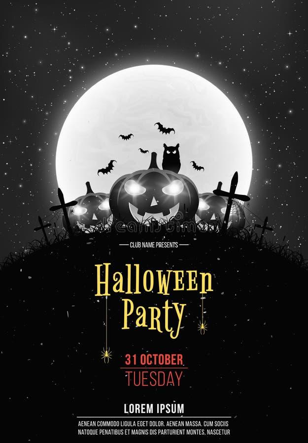 Fondo retro blanco y negro para el partido de Halloween Calabazas de la historieta en el cementerio Luna Llena y cielo estrellado stock de ilustración