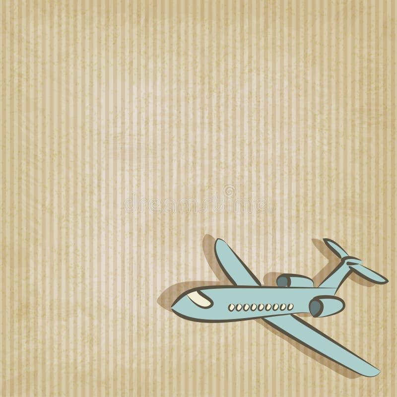 Fondo retro con el avión ilustración del vector