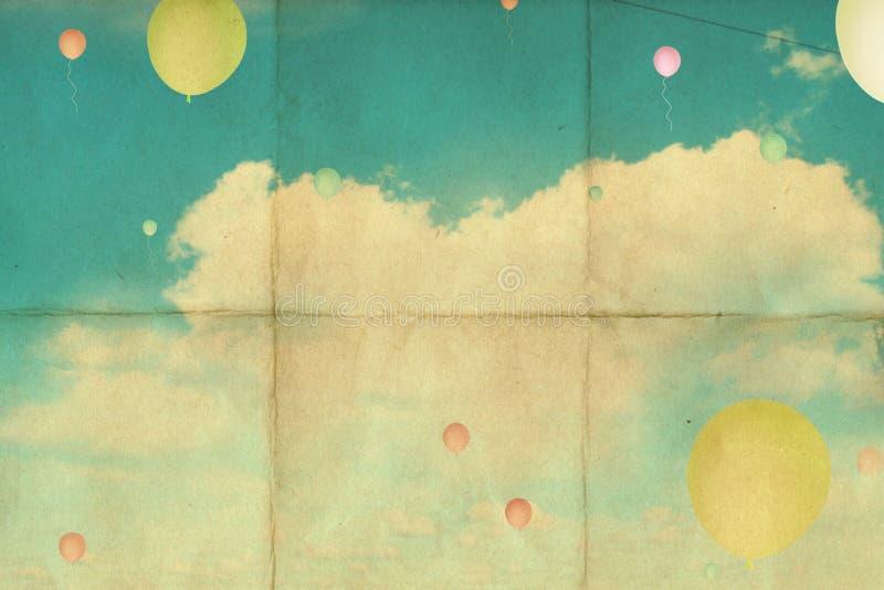 Fondo retro con el cielo fotografía de archivo libre de regalías