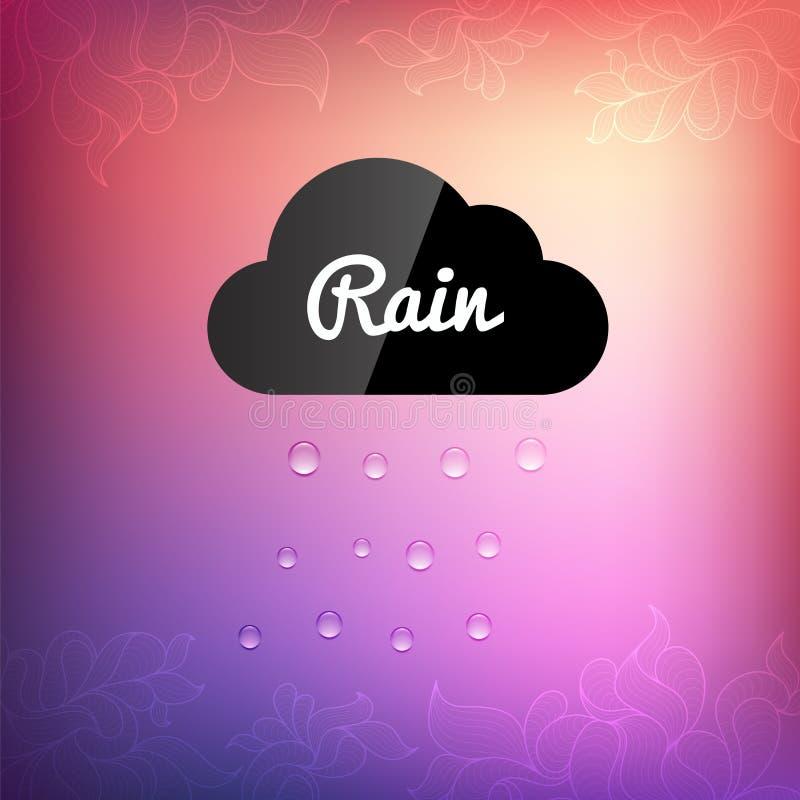 Fondo retro con el icono de la gota de lluvia de la nube stock de ilustración