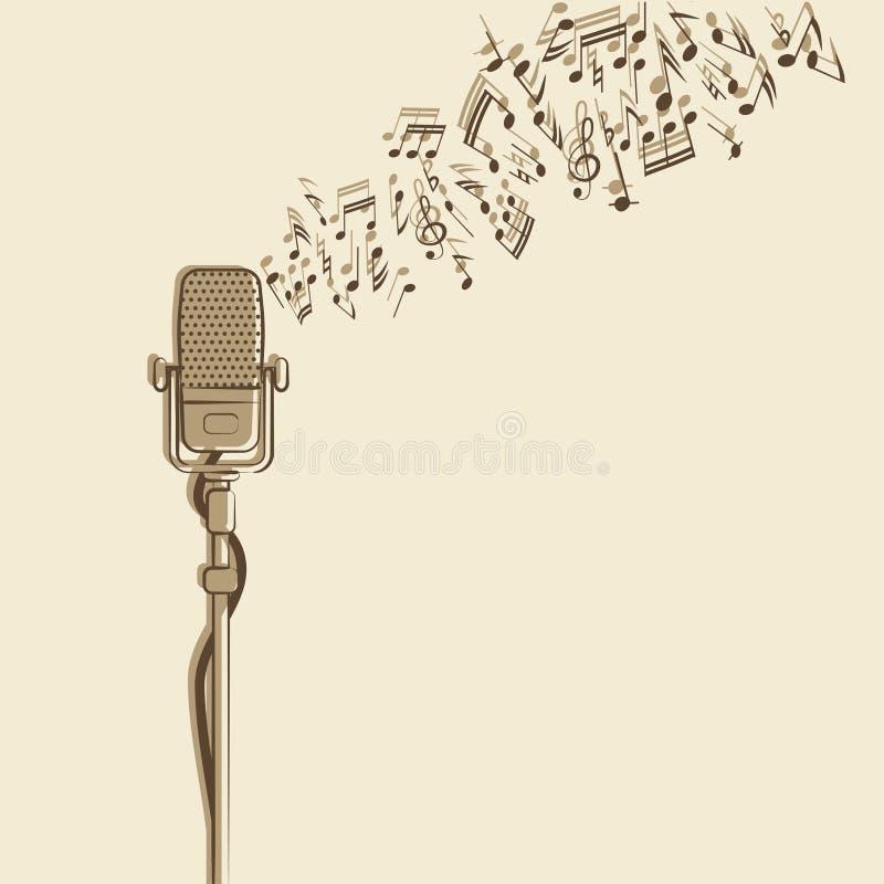 Fondo retro con el micrófono ilustración del vector