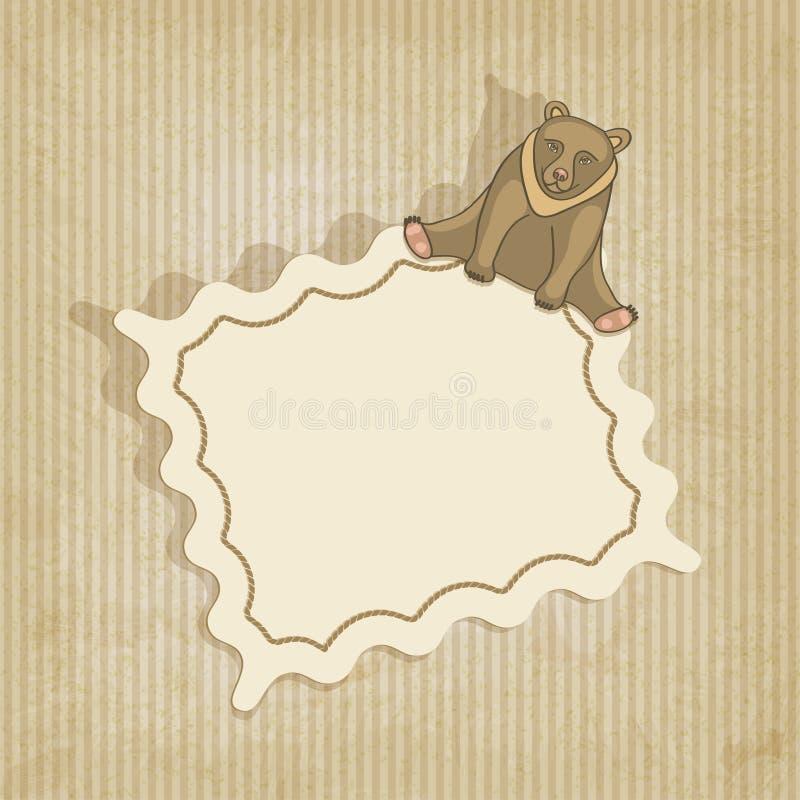 Fondo retro con el oso stock de ilustración