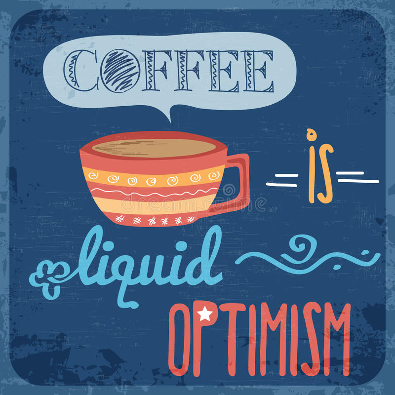 Fondo retro con la citazione del caffè illustrazione di stock