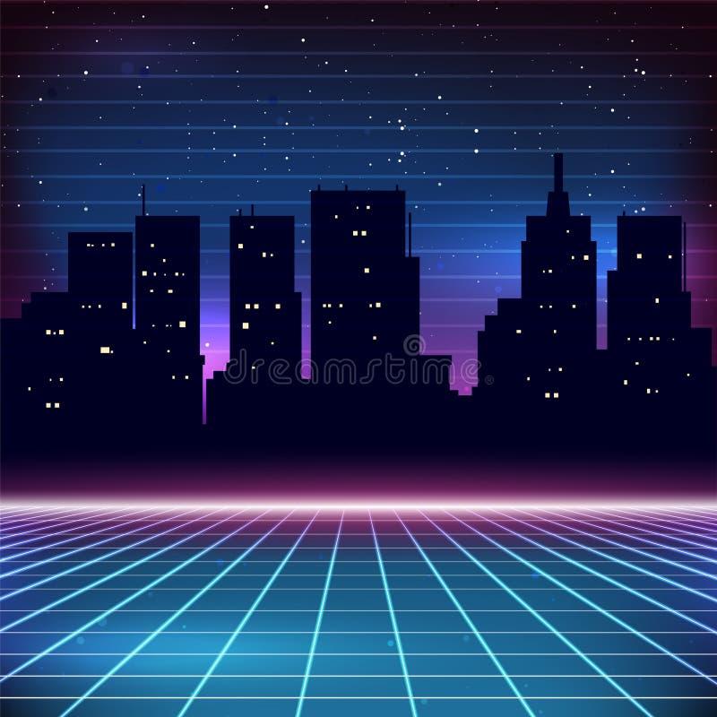 fondo retro de la ciencia ficción 80s ilustración del vector