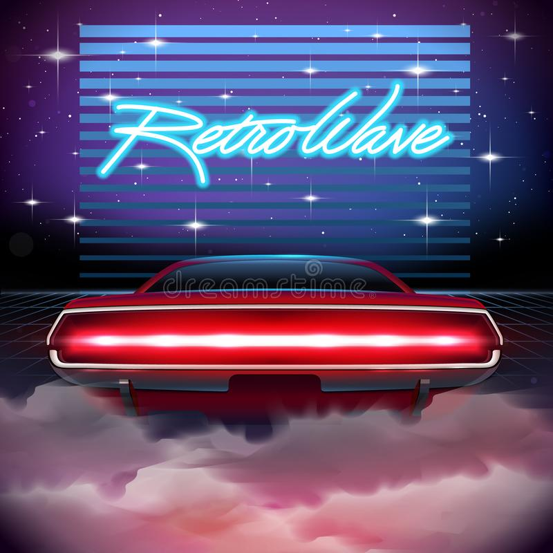 fondo retro de la ciencia ficción 80s con el coche libre illustration