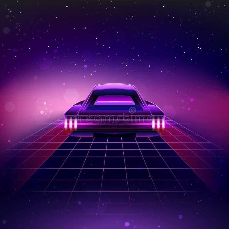 fondo retro de la ciencia ficción 80s con el Supercar stock de ilustración