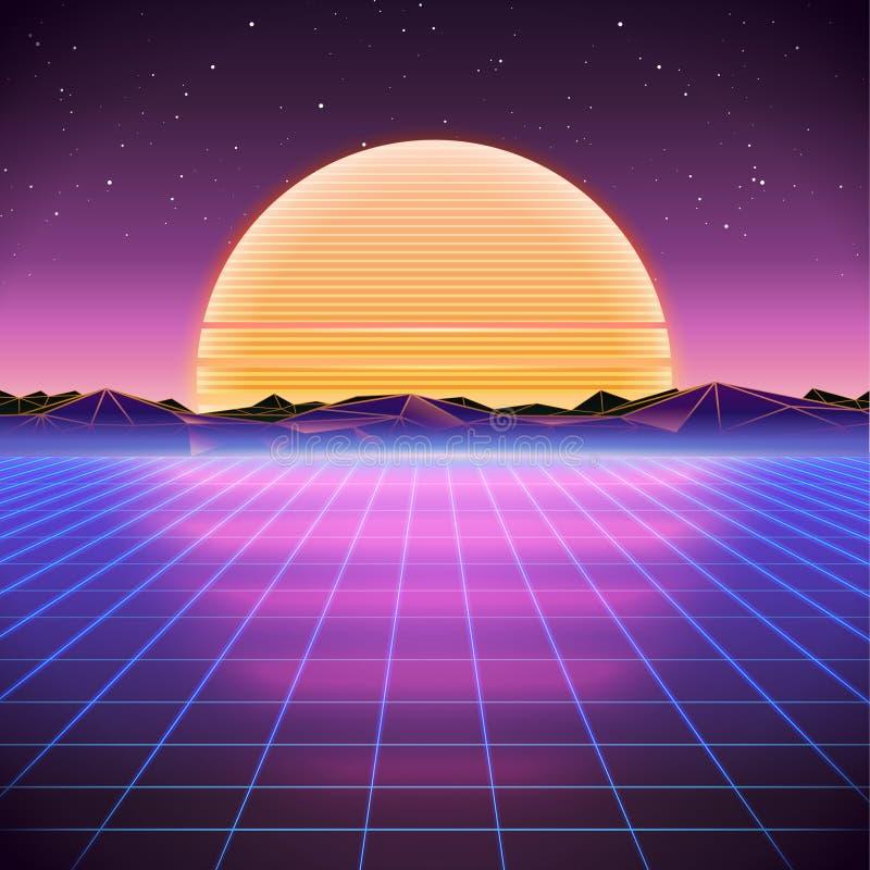 fondo retro de la ciencia ficción 80s con salida del sol o puesta del sol ilustración del vector