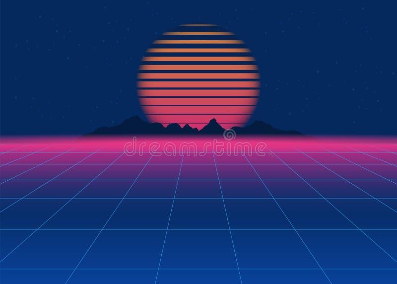 fondo retro de la ciencia ficción 80s Fondo futurista retro, onda retra del synth stock de ilustración