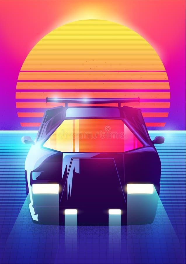 fondo retro de la ciencia ficción 80s Vector el estilo retro de los carteles del ejemplo en 1980 s de la onda del synth futurista stock de ilustración
