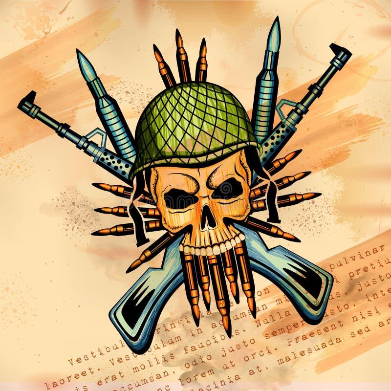 Fondo retro de la impresión sucia del cráneo del estilo de Vintge stock de ilustración
