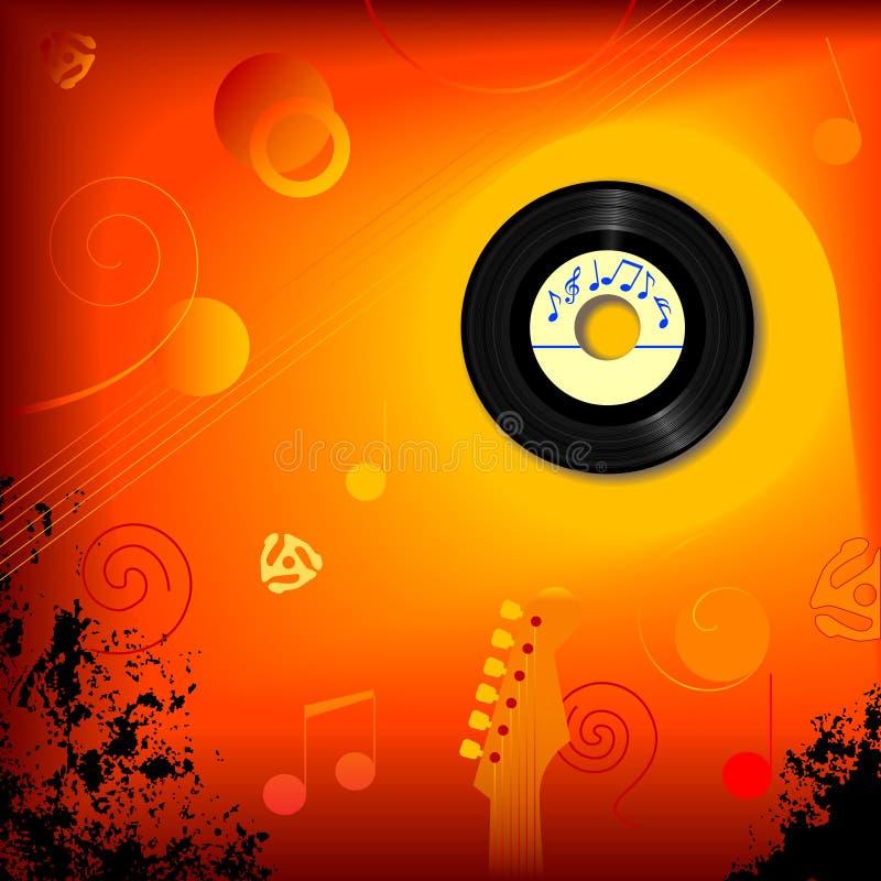 Fondo retro de la música de 45 revoluciones por minuto stock de ilustración