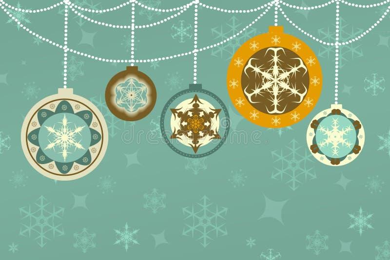 Fondo retro de la Navidad con las chucherías ilustración del vector