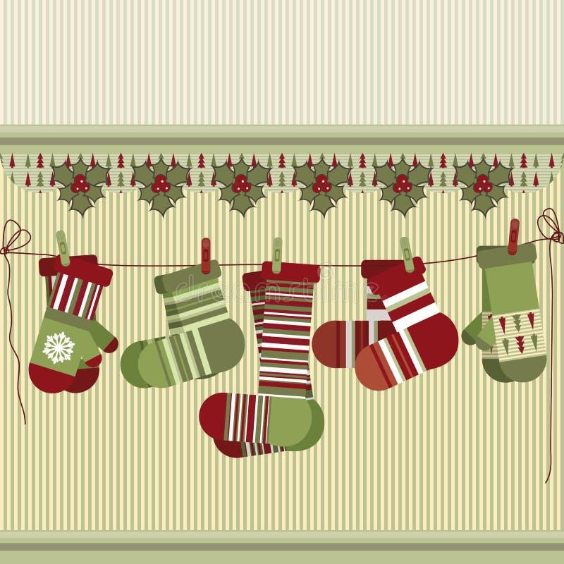 Fondo retro de la Navidad con los calcetines y las manoplas. ilustración del vector