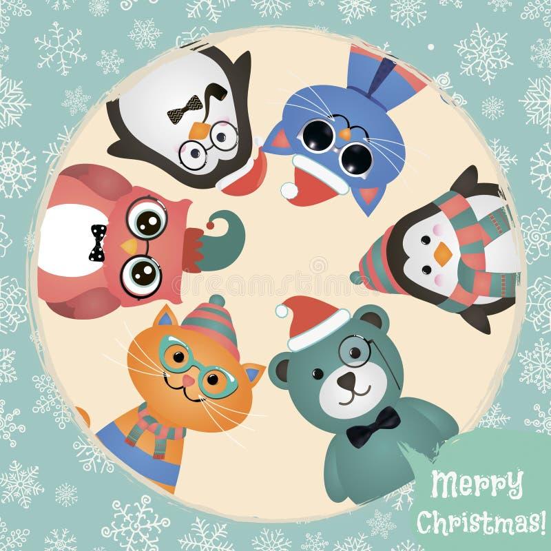 Fondo retro de la Navidad de los animales y de los animales domésticos de la moda del inconformista stock de ilustración