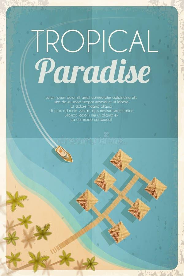 Fondo retro de la playa del verano con las palmas y las casas de planta baja Vector la ilustración, EPS10 ilustración del vector