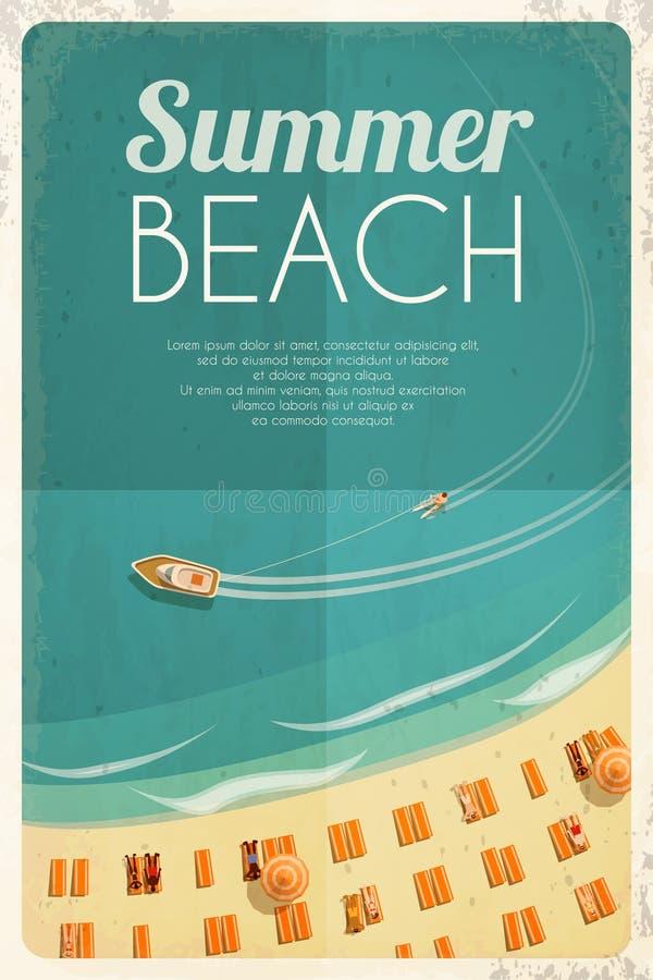 Fondo retro de la playa del verano con las sillas y la gente de playa Vector la ilustración, EPS10 stock de ilustración