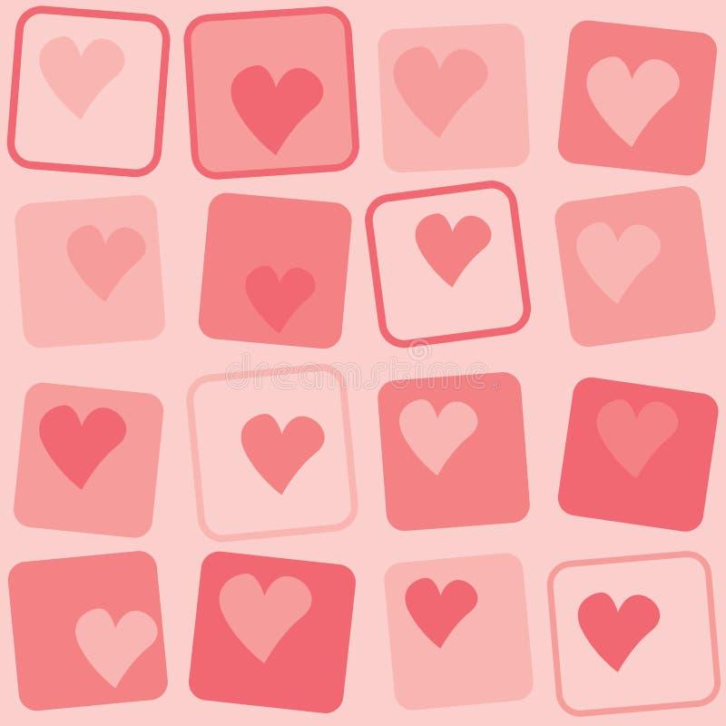 Fondo retro de los corazones stock de ilustración