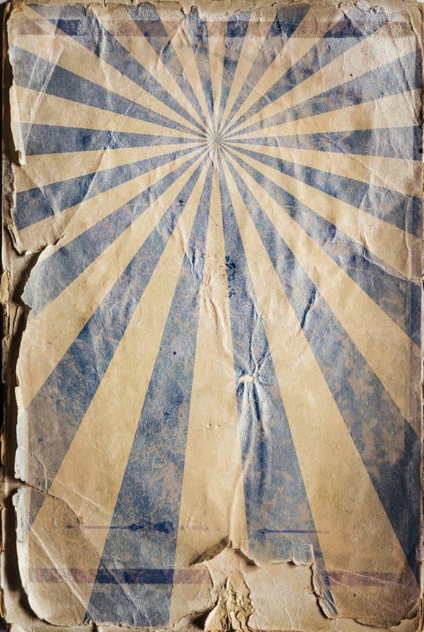 Fondo retro del cartel del rayo de sol del renacimiento en azul ilustración del vector