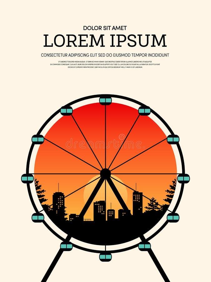 Fondo retro del cartel del vintage con la noria y el paisaje urbano libre illustration