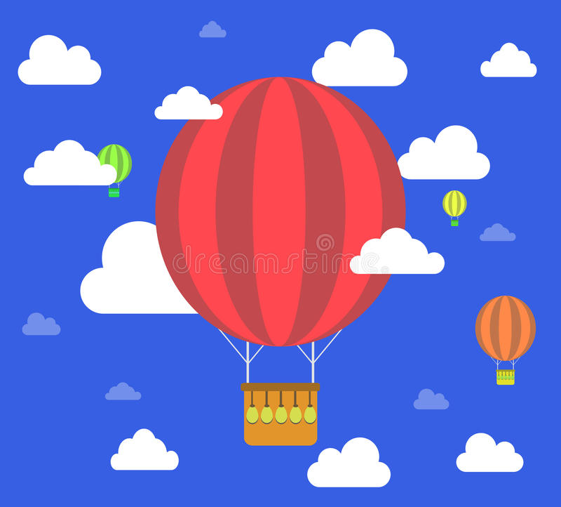 Fondo retro del cielo de la mosca del globo del aire caliente libre illustration