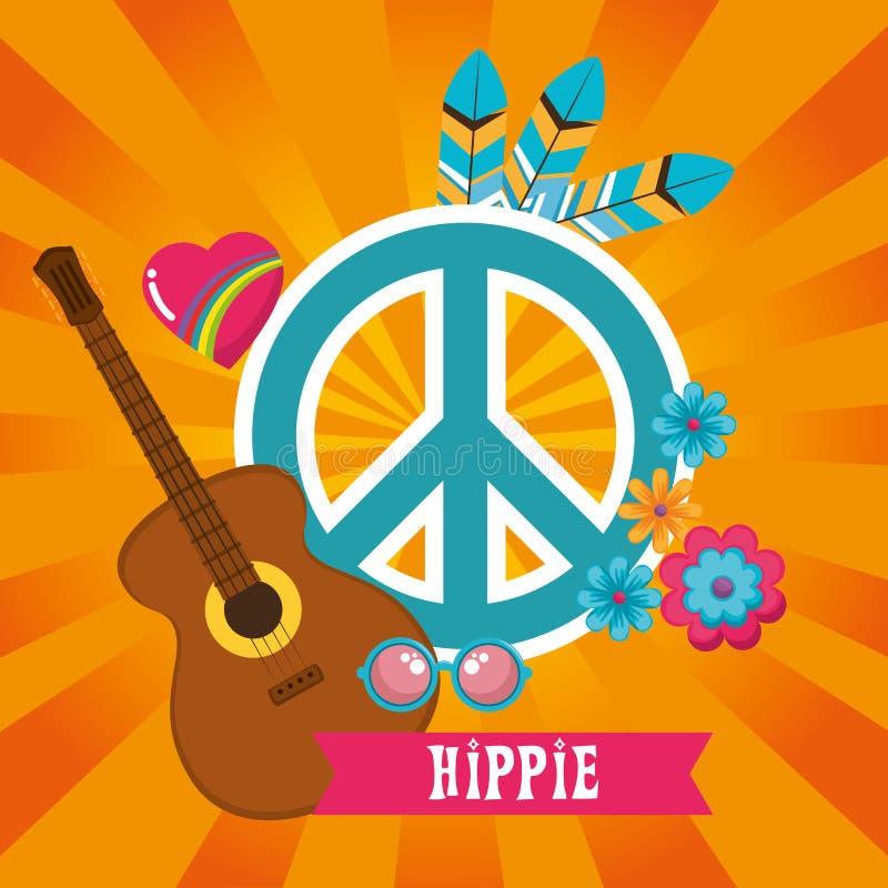 Fondo retro del estilo del hippie stock de ilustración