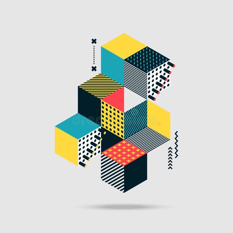 Fondo retro del estilo del vintage isométrico geométrico colorido abstracto ilustración del vector