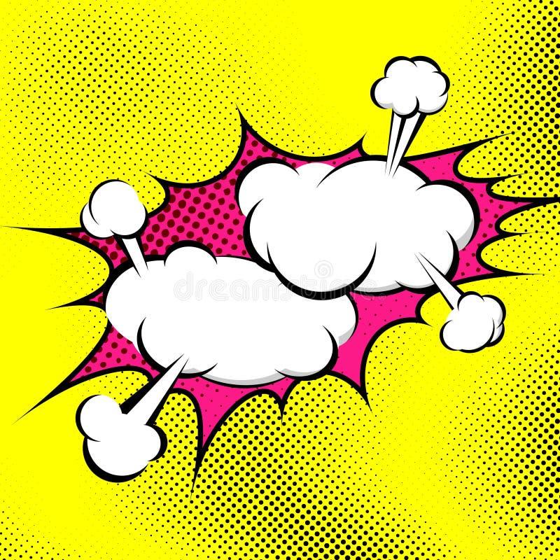 Fondo retro del extracto de la colisión de la burbuja del arte pop stock de ilustración
