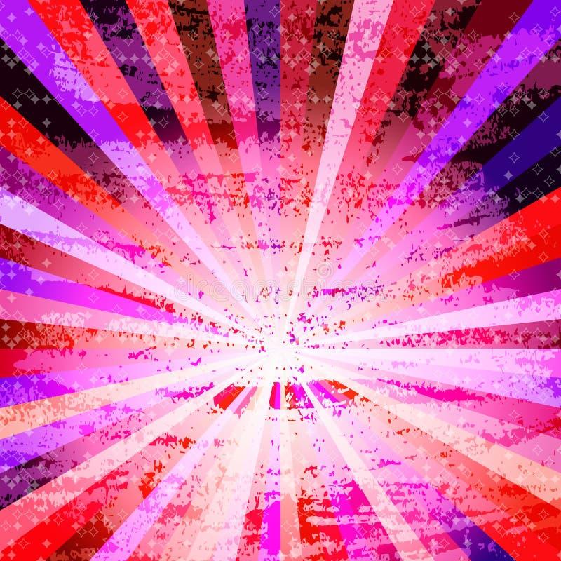 Fondo retro del grunge del vintage con los rayos coloridos ilustración del vector