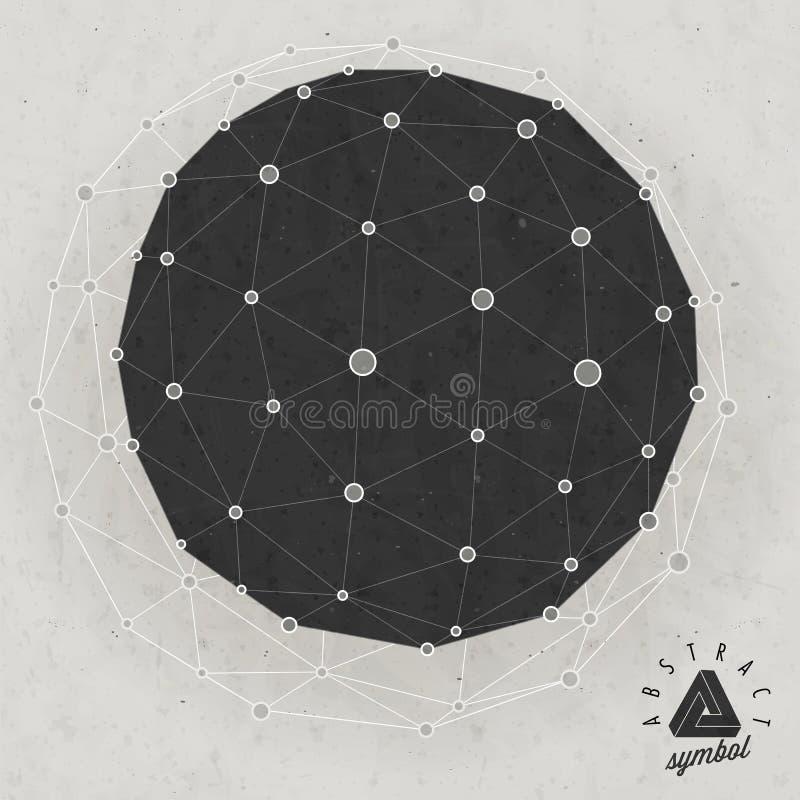 Fondo retro del icosahedron del estilo del vintage. stock de ilustración