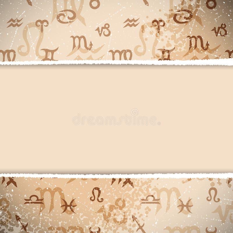 Fondo retro del zodiaco ilustración del vector