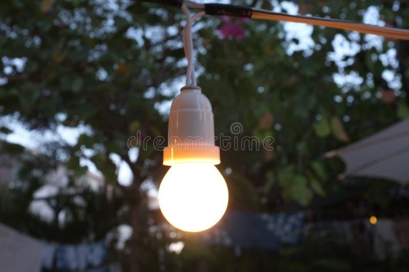 Fondo retro hermoso, decoración de la bombilla que brilla intensamente para el fondo abstracto Festival del concepto fotografía de archivo libre de regalías