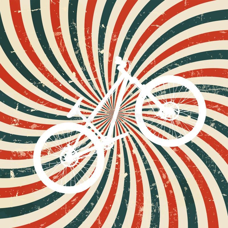 Fondo retro hipnótico abstracto con la bici. stock de ilustración