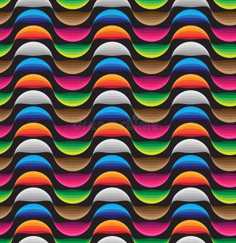 Fondo retro inconsútil abstracto de los modelos, línea colorida de la curva stock de ilustración