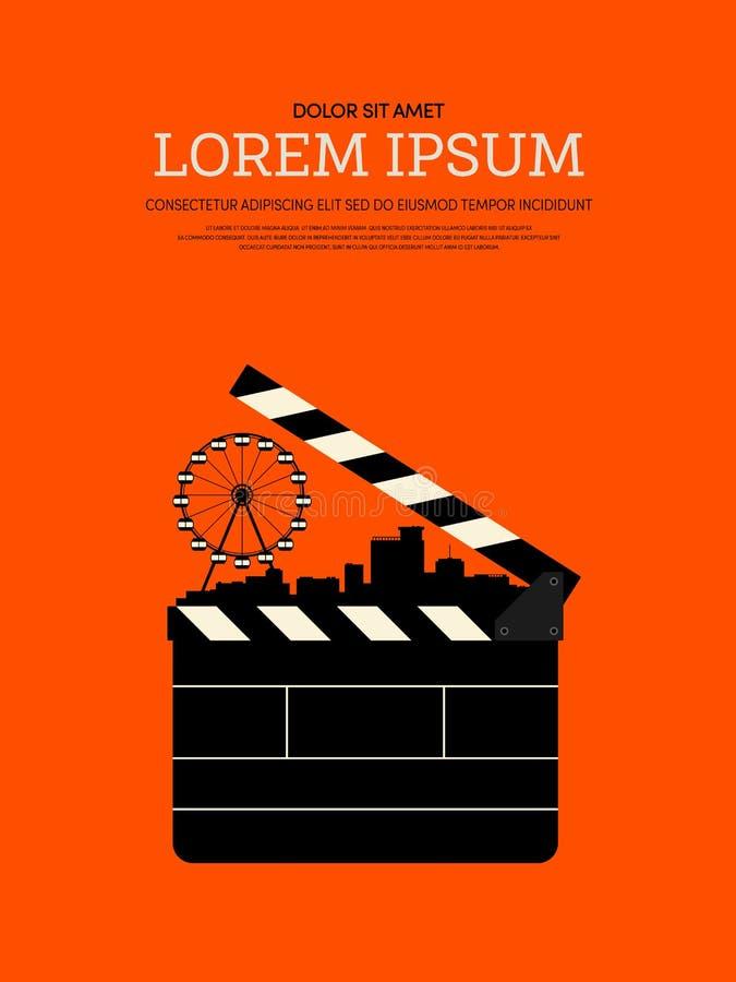 Fondo retro moderno del cartel del vintage de la película y de la película libre illustration