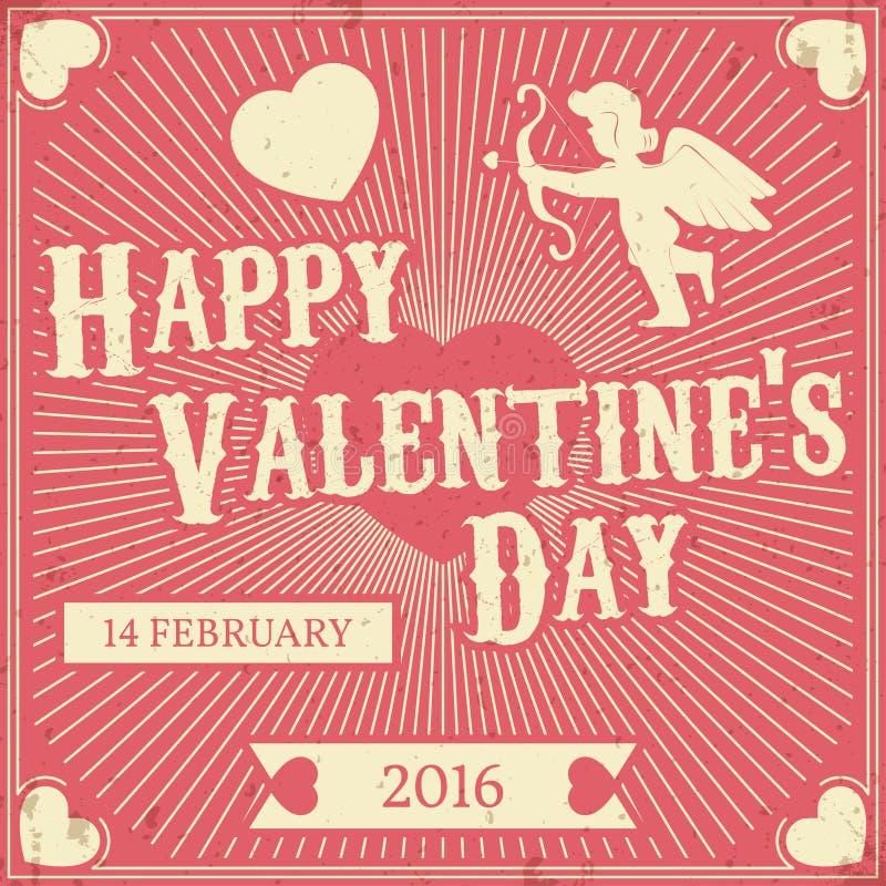 Fondo retro tipográfico del día de tarjeta del día de San Valentín DES del vector del vintage ilustración del vector