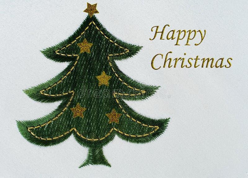 Fondo ricamato dell'albero di Natale immagine stock