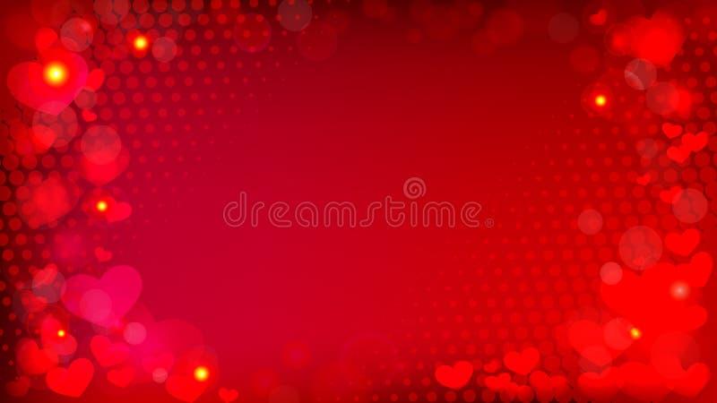 Fondo rojo abstracto con los corazones y el tono medio VE del efecto del bokeh libre illustration