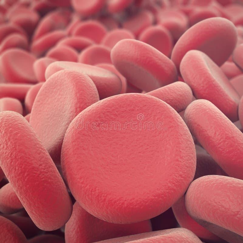 Fondo rojo abstracto de los glóbulos, del ejemplo de los eritrocitos, científico, médico o microbiológico con profundidad de fotografía de archivo libre de regalías