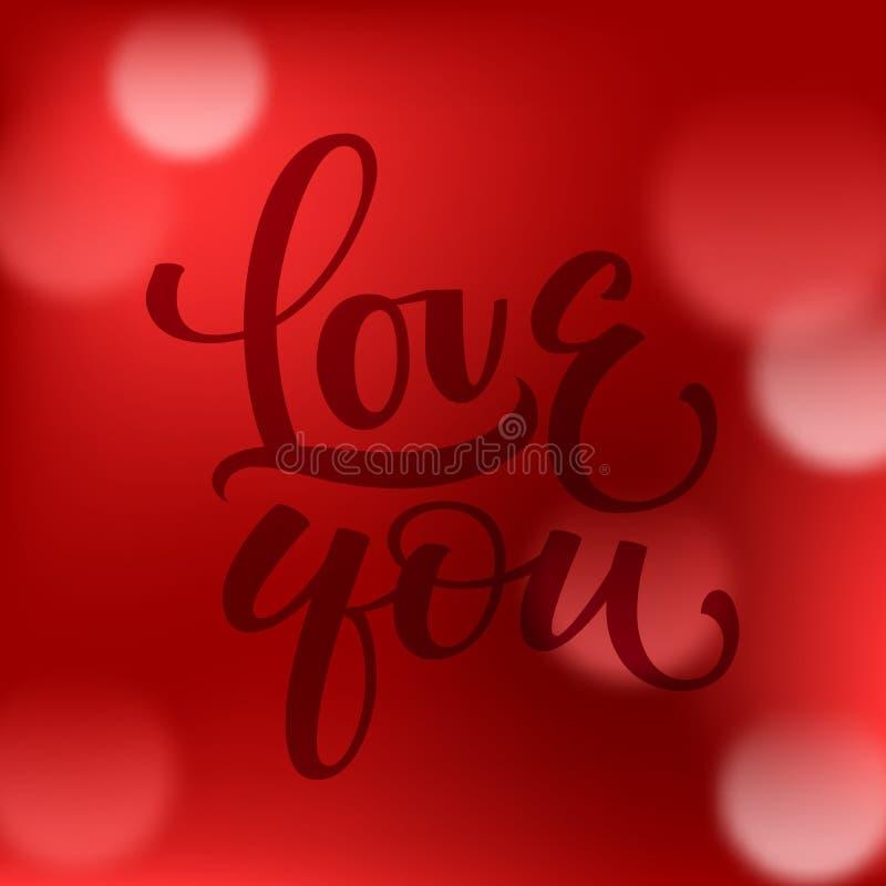 Fondo rojo abstracto del bokeh con amor usted caligrafía ilustración del vector