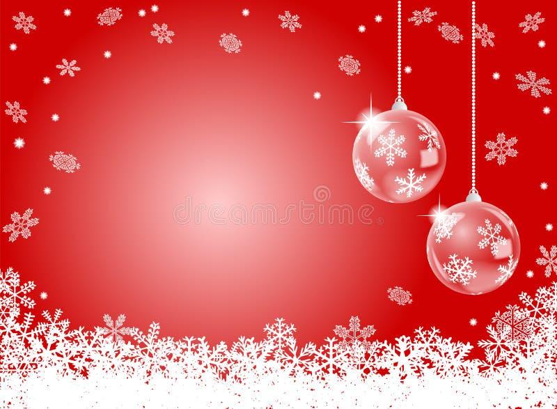 Fondo rojo abstracto del copo de nieve con el christm dos libre illustration
