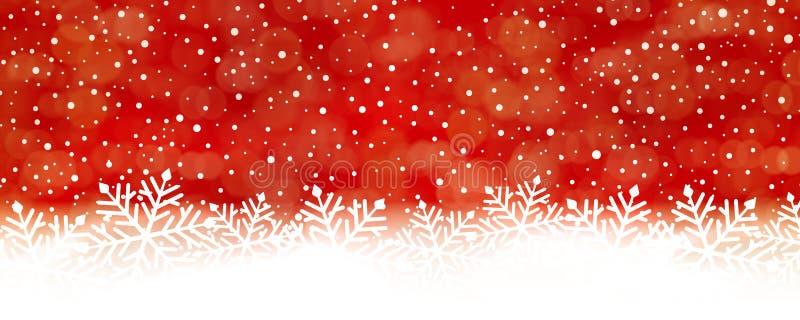 Fondo rojo abstracto del copo de nieve, panorama stock de ilustración