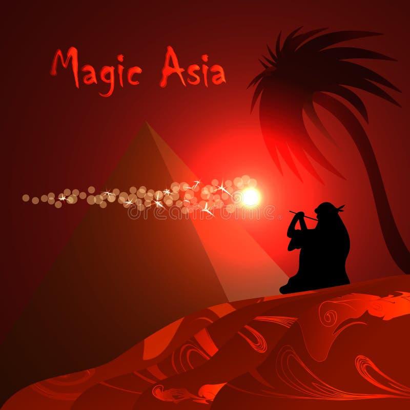 Fondo rojo abstracto Desierto, pirámide, beduino, noche roja Asia mágica ilustración del vector